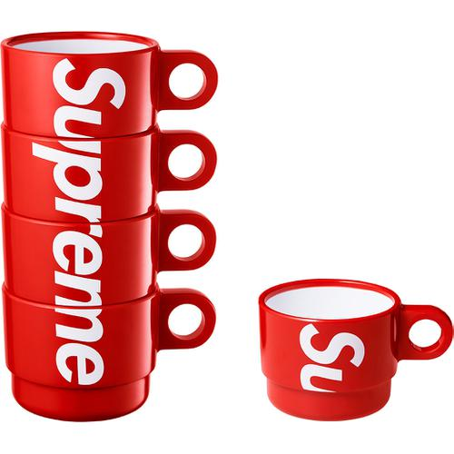 Stacking Cups (Set of 4) - Plastic with printed logo down stack and embossed logo on bottom.