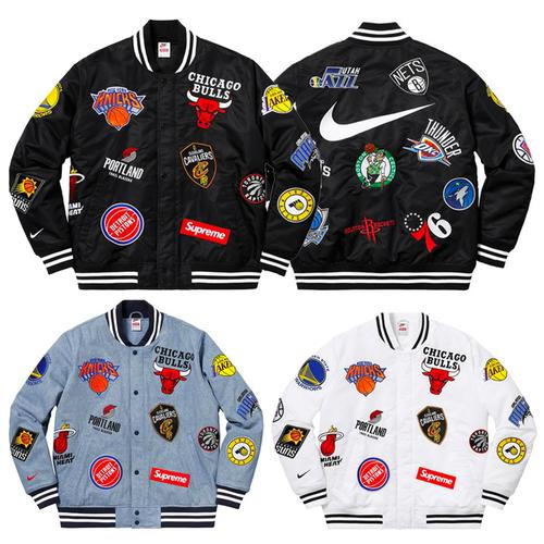 Supreme®/Nike®/NBA Teams Warm-Up Jacket - Supreme®/Nike®/NBA Supreme®/Nike®/NBA Warm-Up Jacket features embroidered logos with quilted satin lining.