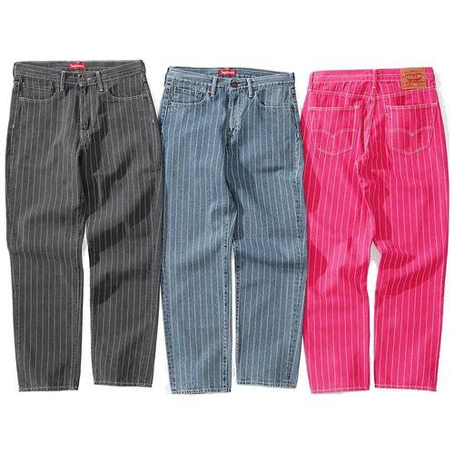 Supreme®/Levi's® Pinstripe 550 Jeans - Custom fit stonewashed denim with co-branded hardware. Classic 5-pocket style with zip fly, single coin pocket and patch on back. Made exclusively for Supreme.