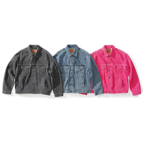 Supreme®/Levi's® Pinstripe Trucker Jacket - Custom fit stonewashed cotton denim with button front closure and co-branded hardware. Hand pockets at lower front and chest pockets with button closures. Devil pin included. Made exclusively for Supreme.