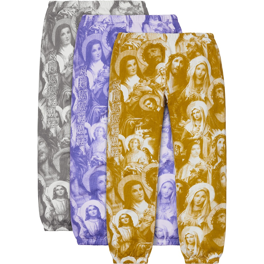 Jesus and Mary Sweatpant - Cotton fleece with printed pattern. On seam hand pockets and single back patch pocket. Elastic cuffs and waistband with interior drawcord and printed logo on leg.