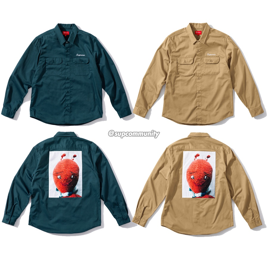 Mike Kelley/Supreme Ahh…Youth! Work Shirt - Washed cotton blend with button flap patch pockets, printed cotton back patch and embroidered logo on chest. <br><br>© Mike Kelley Foundation for the Arts.