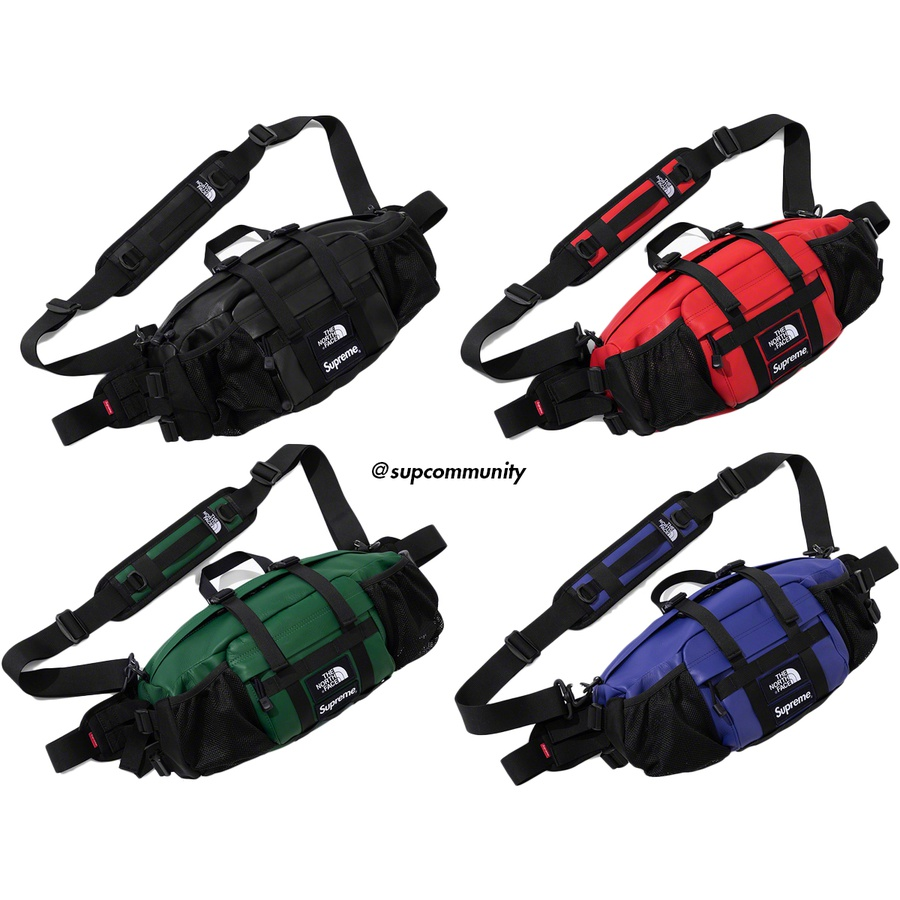Supreme®/The North Face® Leather Mountain Waist Bag - Cowhide leather with nylon lining. Main compartment with zip top entry and zip front pocket with woven logo patches. Mesh water bottle side pockets with adjustable shockcords. Cushioned foam back panel with winged adjustable hip belt and adjustable sh...
