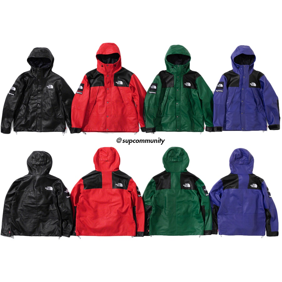 Supreme®/The North Face® Leather Mountain Parka - Lambskin leather with poly and nylon lining. Full zip closure with snap placket and fixed hood with interior shockcord. Zip alpine pockets at chest and three interior zip pockets. Velcro closure at cuffs and interior shockcord at hem. Logo patches on ...