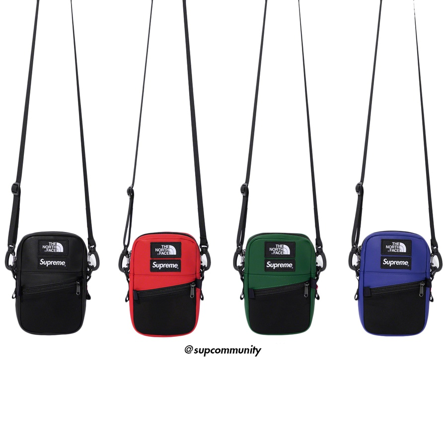 Supreme®/The North Face® Leather Shoulder Bag - Cowhide leather with nylon lining. Main compartment with zip top entry and internal mesh pocket. Front mesh zip compartment and adjustable shoulder strap. Woven logo label patches on front. 2L. Made exclusively for Supreme.
