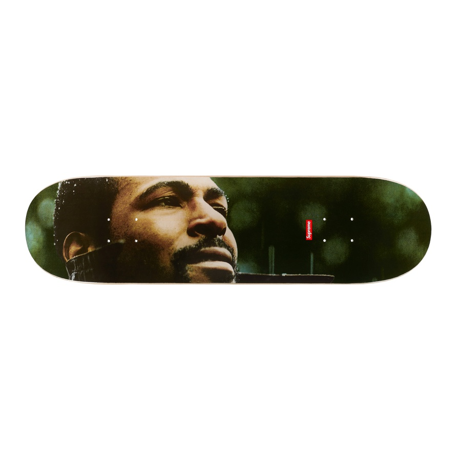 Marvin Gaye Skateboard - Black veneer Supreme skate deck with printed graphic on bottom. Printed World Famous and box logo on top. Original album artwork from Marvin Gaye's <em>What's Going On.</em>