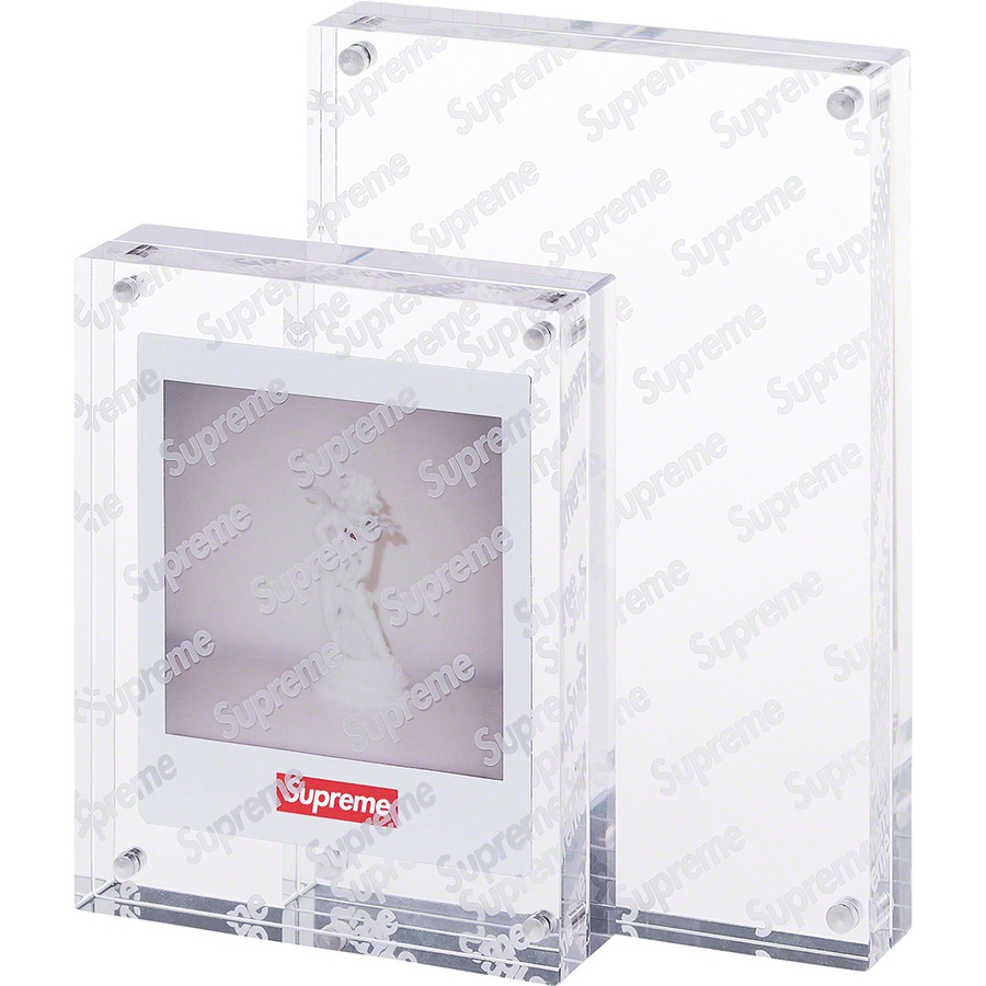 "Acrylic Photo Frame (Set of 2) - Acrylic with silver magnet closures and frosted logo pattern. 4"" x 6"" and 3.5"" x 4.5"". Sold as a set of two."