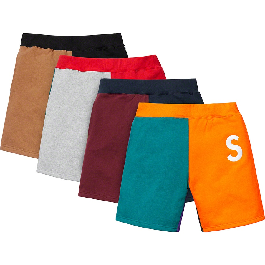 S Logo Colorblocked Sweatshort - Cotton fleece with on seam hand pockets and single back patch pocket. Rib waistband with interior drawcord and embroidered logo on thigh.