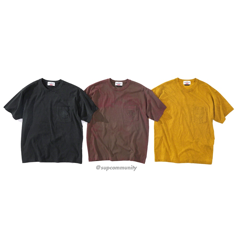 Supreme®/Stone Island® Pocket Tee - All cotton with garment dye and Dust Colour treatment. Embroidered logos on single chest pocket. Made exclusively for Supreme.