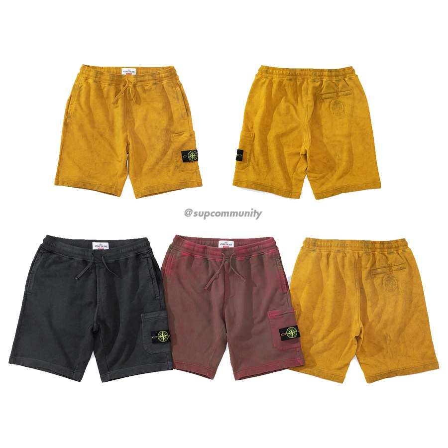 Supreme®/Stone Island® Sweatshort - All cotton with garment dye and Dust Colour treatment. On seam hand pockets, back zip pocket and zip cargo pocket at thigh. Knit rib waistband with interior drawcord. Removable Stone Island® patch on cargo pocket and embroidered logo on back pocket. M...
