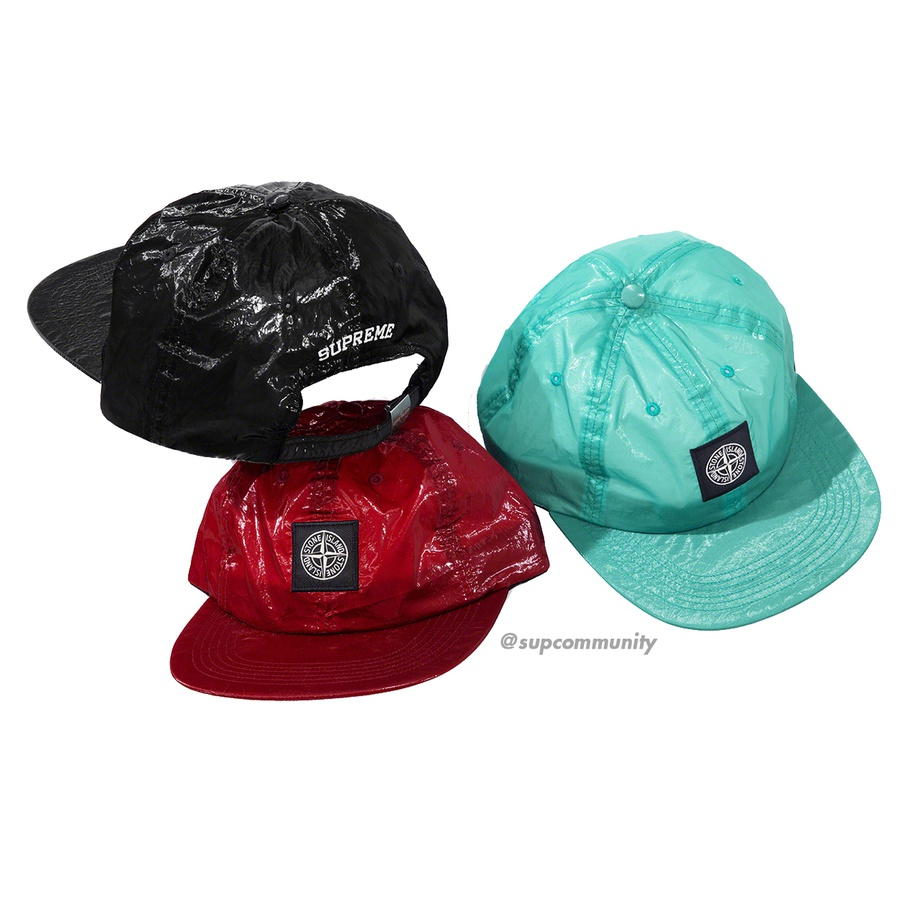 Supreme®/Stone Island® New Silk Light 6-Panel - Water and wind resistant lightweight nylon tela laminated with glossy polyurethane coating and garment dyed 6-Panel hat with self strap closure. Logo patch on front and embroidered logo on back. Made exclusively for Supreme.