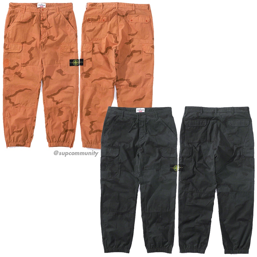 Supreme®/Stone Island® Camo Cargo Pant - Brushed cotton canvas with printed pattern and pigment overdye. Button and snap fly closure with slanted front pockets, snap flap back pockets and velcro cargo pockets at thighs. Bottom gussets with zip closure, elastic cuffs and waistband with interi...