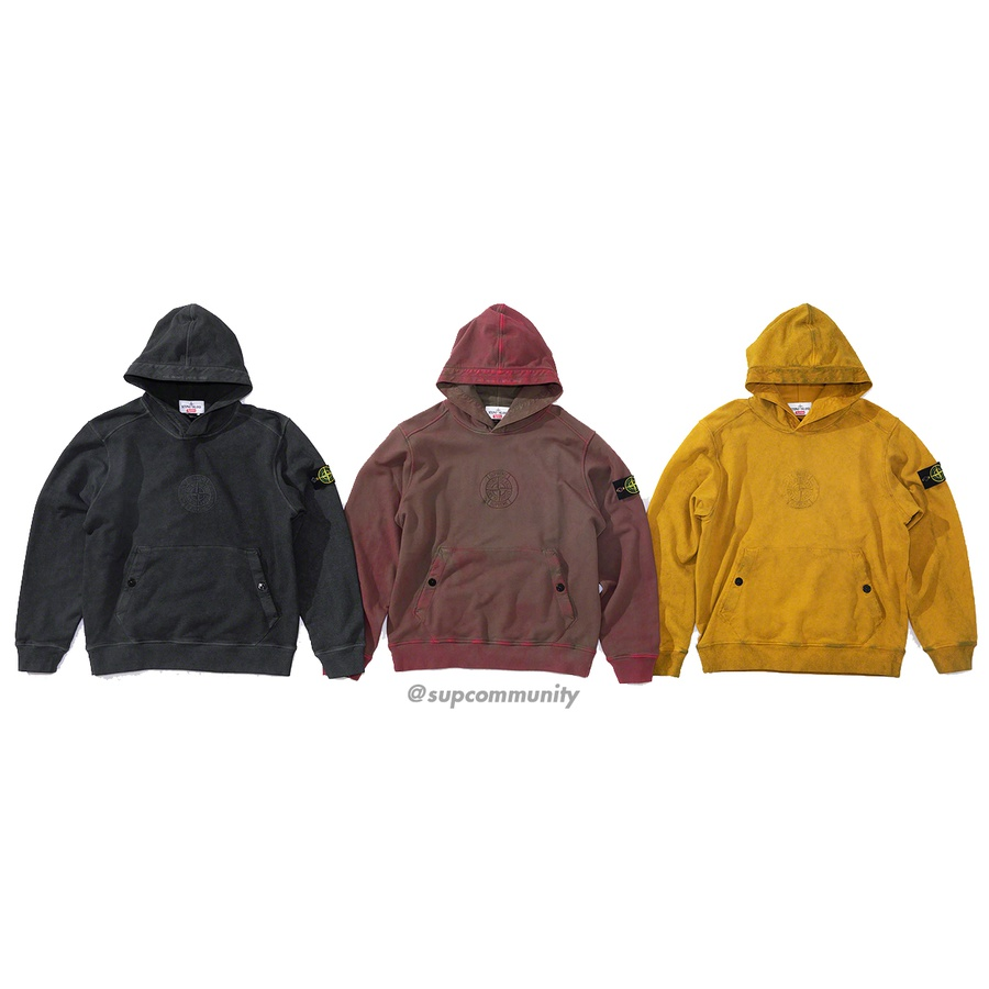 Supreme®/Stone Island® Hooded Sweatshirt - All cotton with garment dye and Dust Colour treatment. Pouch pocket with snap closures. Embroidered logos on chest and hood with removable Stone Island® patch on sleeve. Made exclusively for Supreme.