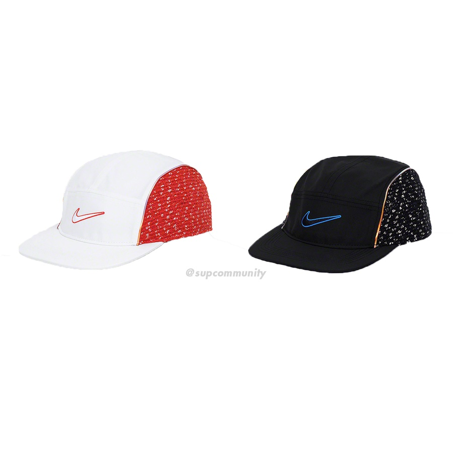 Supreme®/Nike® Bouclé Running Hat - Dri-FIT featherlight fabric running hat with bouclé side panels, reflective piping and embroidered logo on front. Adjustable strap at back with reflective printed logo and clip closure. Made exclusively for Supreme.