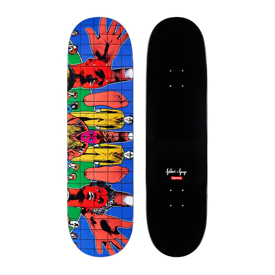 Gilbert & George/Supreme DEATH AFTER LIFE Skateboard - Full dipped black Supreme skate deck with printed graphic on bottom. Printed box logo and artist signature on top. Original artwork by Gilbert & George.