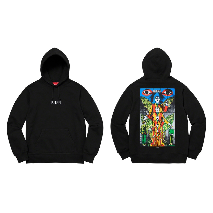 Gilbert & George/Supreme LIFE Hooded Sweatshirt - Cotton fleece with pouch pocket and printed graphic on chest and back. Original artwork by Gilbert & George.
