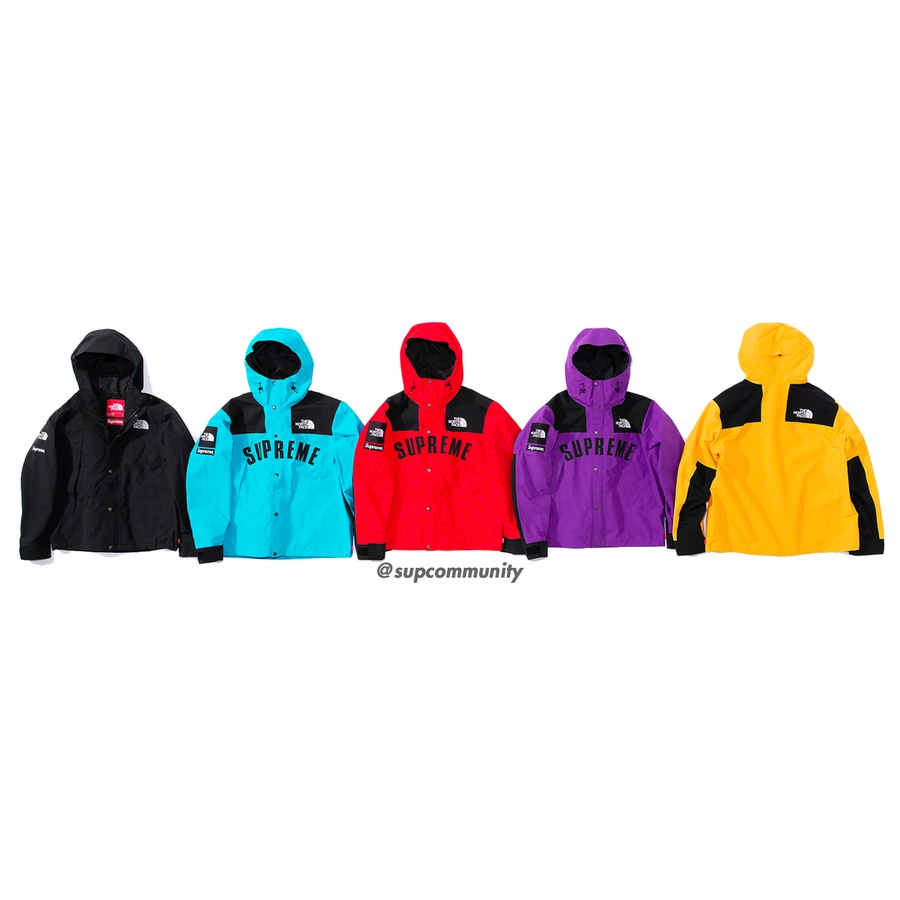 Supreme®/The North Face® Arc Logo Mountain Parka - Waterproof, breathable and fully seam-sealed GORE-TEX nylon with poly and nylon lining. Full zip closure with snap placket and fixed hood with interior shockcord. Zip alpine pockets at chest and three interior zip pockets. Velcro closure at cuffs and ...