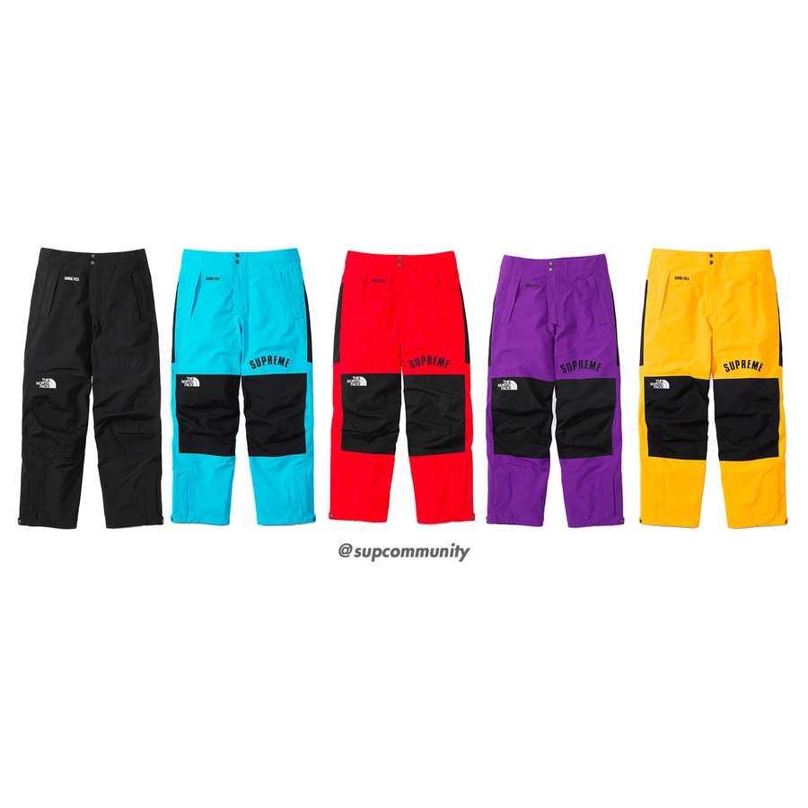 Supreme®/The North Face® Arc Logo Mountain Pant - Waterproof, breathable and fully seam-sealed GORE-TEX nylon with taffeta lining and zip hand pockets. Zip fly with two-button closure and elastic waistband with velcro tab adjusters. Interior gaiters at cuffs with exterior ankle zips, shockcords and s...