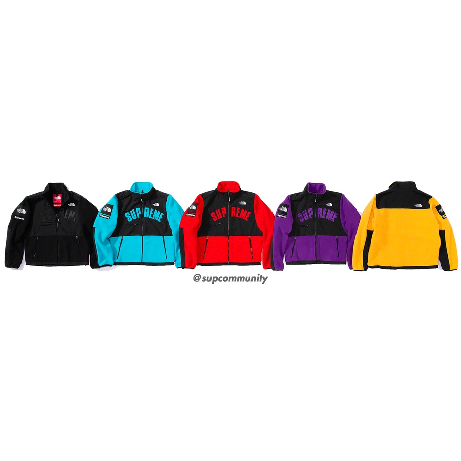 Supreme®/The North Face® Arc Logo Denali Fleece Jacket - Polar fleece with nylon panels and full zip closure. Zip pockets at lower front and chest. Pit zips and interior shockcord at hem. Tackle twill appliqué logo on chest, logo patches on sleeve and embroidered logos on chest and back shoulder. Made exclu...