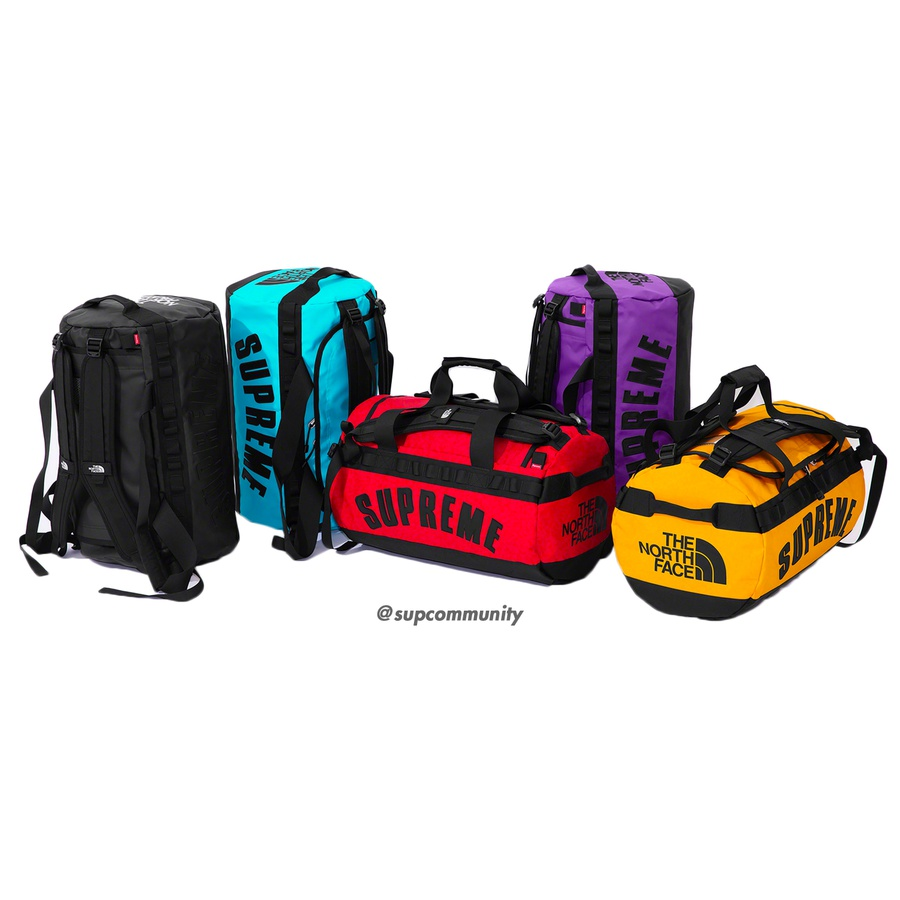 Supreme®/The North Face® Arc Logo Small Base Camp Duffle Bag - Waterproof 1000D TPE Laminate with ballistic nylon bottom. Top zip compartment with interior mesh zip pocket and interior hanging key pocket. Duffle handle and padded pack straps at top with elastic utility bands at sides. Appliqué logo on side and pr...