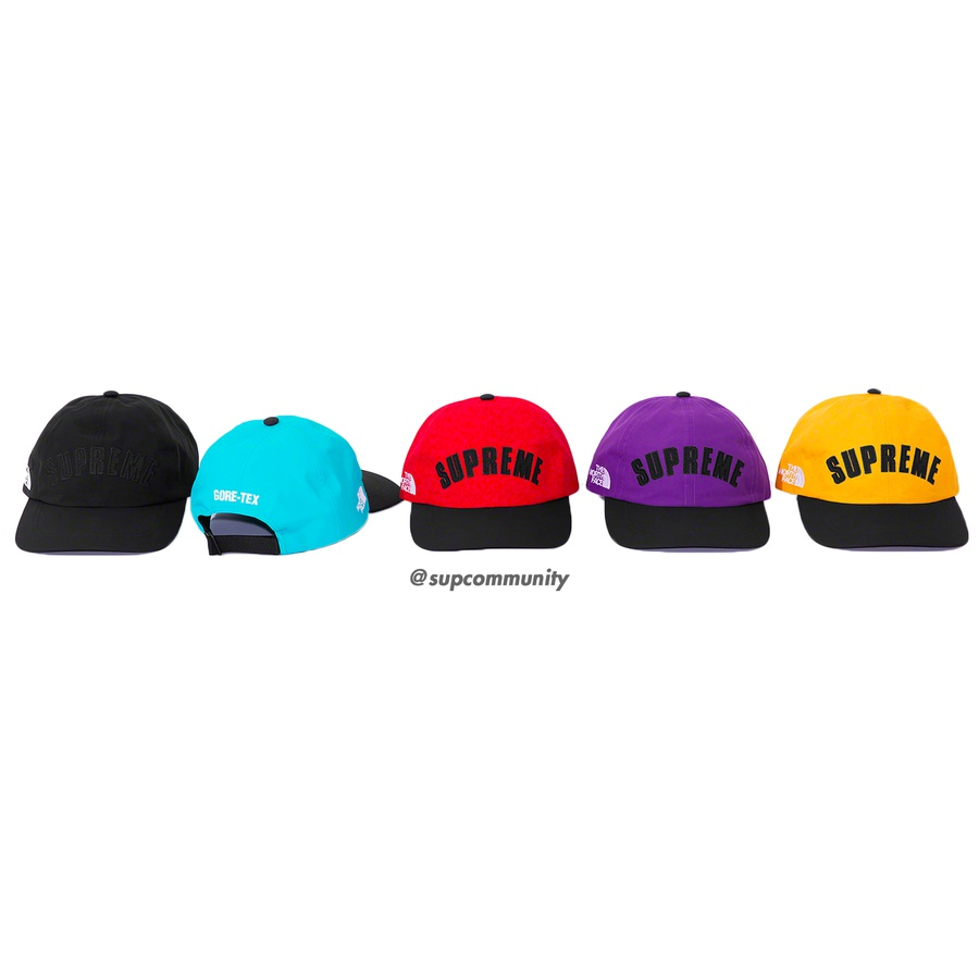 Supreme®/The North Face® Arc Logo 6-Panel - Waterproof, breathable GORE-TEX nylon 6-Panel hat. Appliqué logo on front with embroidered logos on side and back. Made exclusively for Supreme.