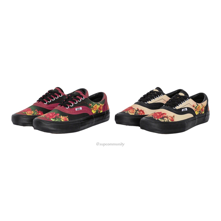 Supreme®/Vans® Jean Paul Gaultier® Floral Print Era Pro - Premium canvas upper with printed pattern. Leather lining and insole with vulcanized waffle outsole and custom heel label. Made exclusively for Supreme.