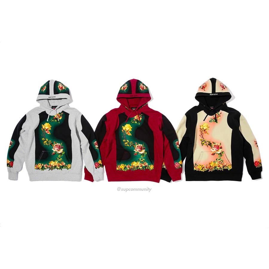 Supreme®/Jean Paul Gaultier® Floral Print Hooded Sweatshirt - Cotton fleece with printed pattern, pouch pocket and embroidered logo on hood.