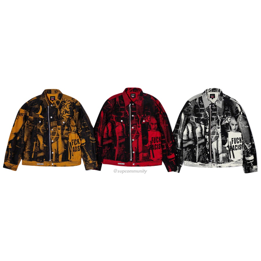 Supreme®/Jean Paul Gaultier® Fuck Racism Trucker Jacket - All cotton 13oz. denim with printed graphic. Full zip and snap front closure with hand pockets at lower front and chest pockets with snap closures. Enamel logo plate on hem.