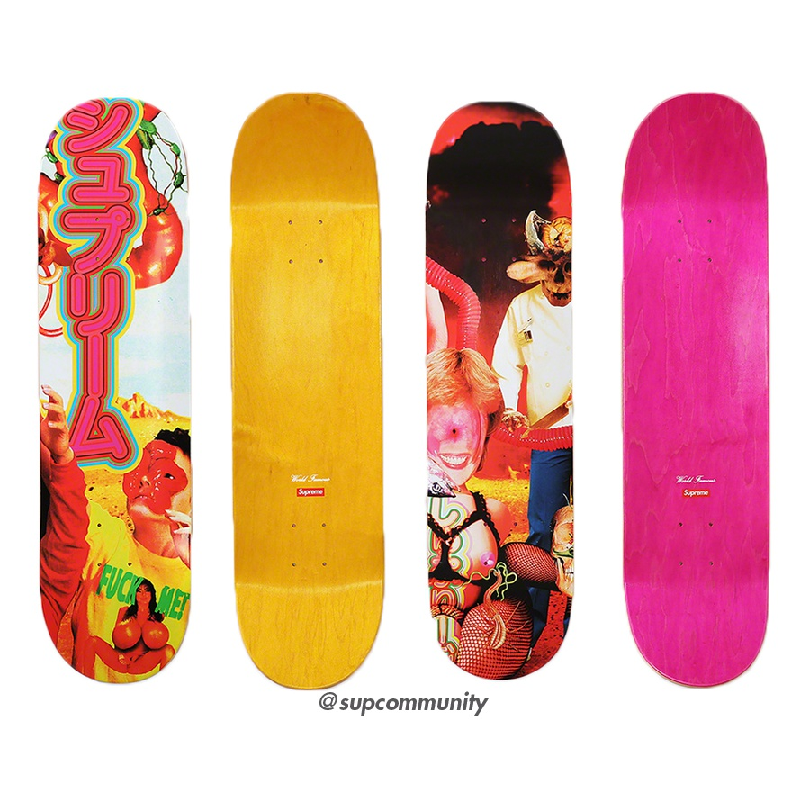 Sekintani La Norihiro/Supreme Skateboard - Colored top ply Supreme skate deck with printed graphic on bottom. Printed World Famous and box logo on top. Original artwork by Sekintani La Norihiro.