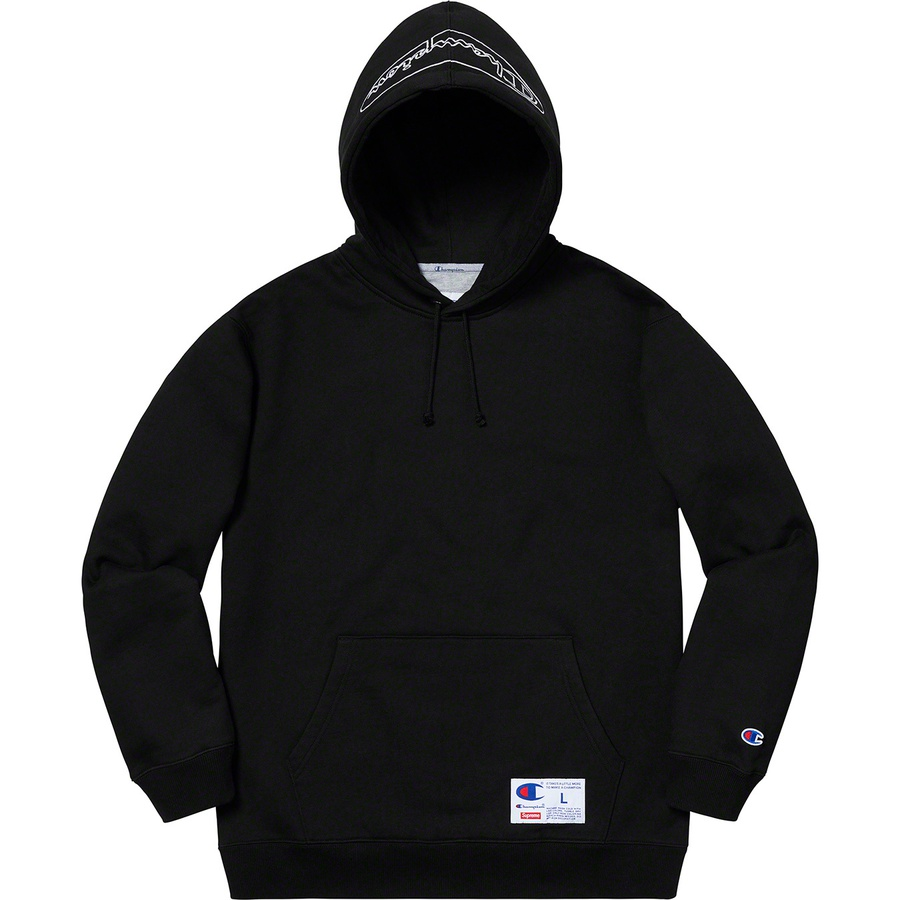 Supreme®/Champion® Outline Hooded Sweatshirt - Cotton fleece with athletic label on pouch pocket and embroidered logo on hood. Made exclusively for Supreme.