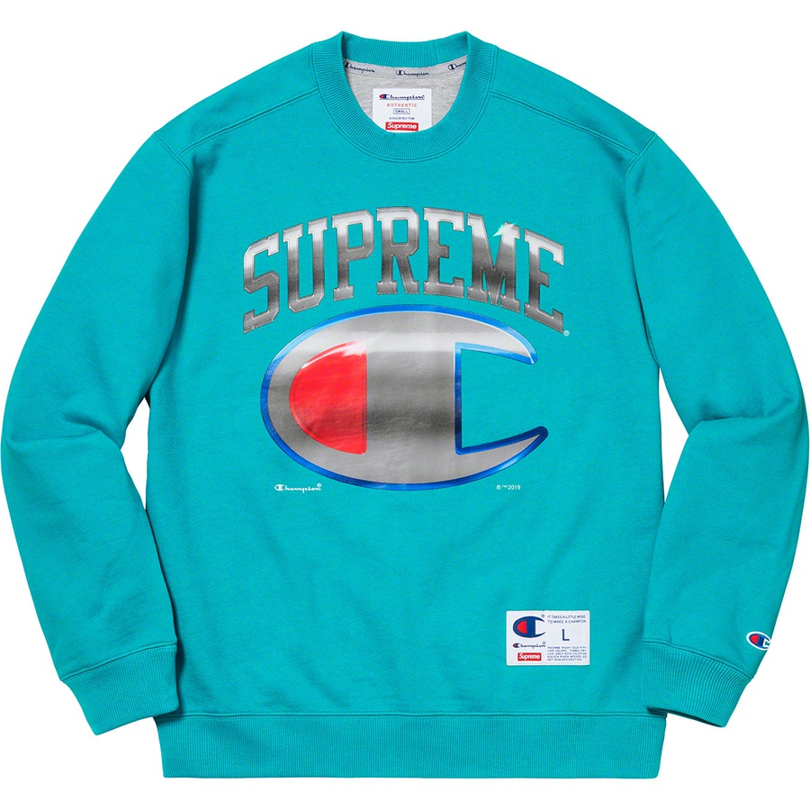 Supreme®/Champion® Chrome Crewneck - Cotton blend fleece with printed logos on chest and athletic label at lower front. Made exclusively for Supreme.
