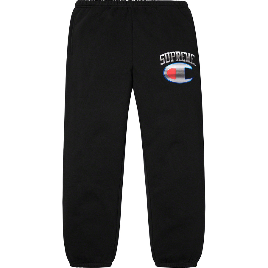 Supreme®/Champion® Chrome Sweatpant - Cotton fleece with on seam hand pockets and single back patch pocket with athletic label. Elastic cuffs and waistband with interior drawcord. Printed logos on thigh. Made exclusively for Supreme.