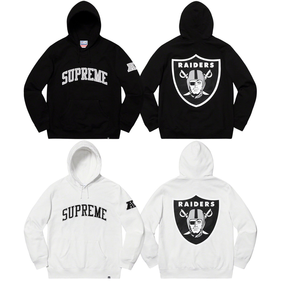 Supreme®/NFL/Raiders/'47 Hooded Sweatshirt - Cotton fleece with pouch pocket. Twill appliqué logo on chest and sleeve with printed logo on back. Official Raiders merchandise by '47 made exclusively for Supreme.