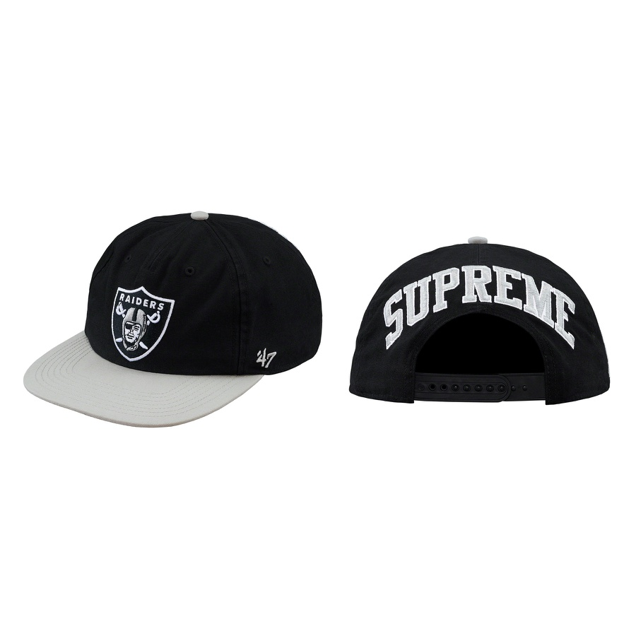 Supreme®/NFL/Raiders/'47 5-Panel - All cotton 5-Panel hat with snap closure. Embroidered logos on front, sides and back. Official Raiders merchandise by '47 made exclusively for Supreme.