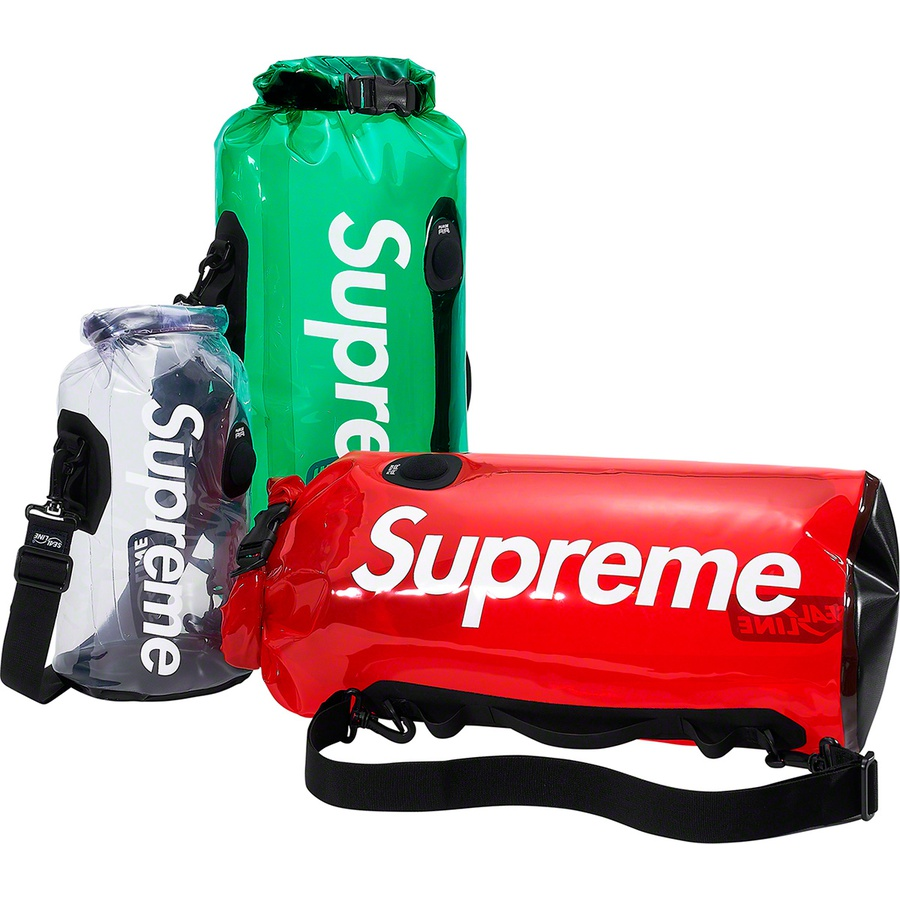 Supreme®/SealLine® Discovery Dry Bag - 20L - Waterproof transparent urethane with waterproof roll-top closure and welded seams. Adjustable shoulder strap and printed logo on side. 20 L. Made exclusively for Supreme.