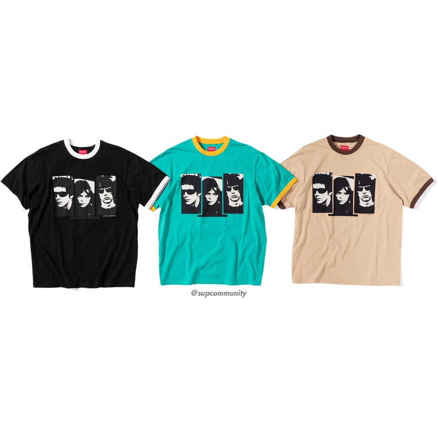 Supreme/The Velvet Underground Ringer Tee - All cotton jersey ringer with printed graphic on front and back.