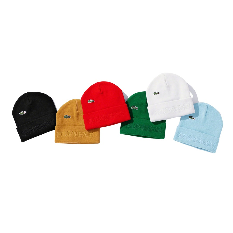 Supreme®/LACOSTE Beanie - Cashmere blend cuffed beanie with embroidered logo on cuff and embroidered logo patch on crown. Made exclusively for Supreme.