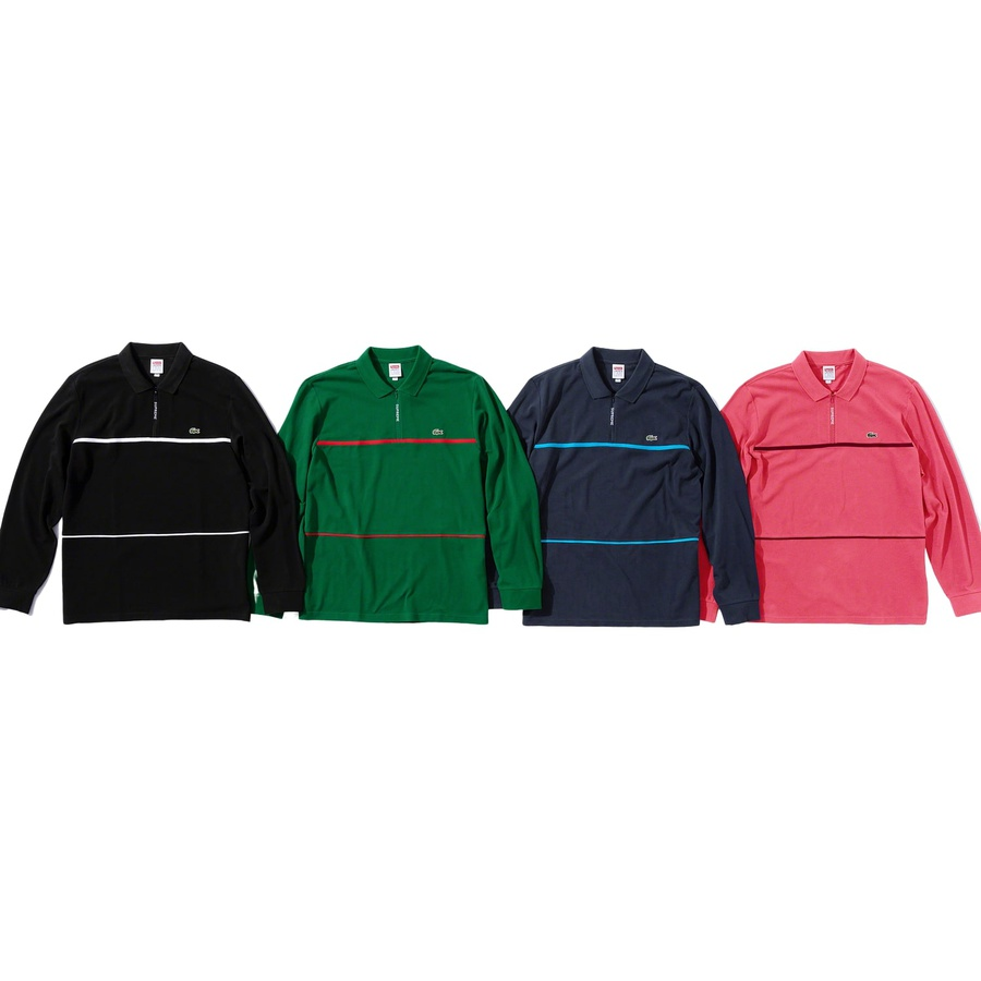 Supreme®/LACOSTE Pique Zip L/S Polo - All cotton pique polo. Half zip closure with jacquard logo zipper tape. Knit rib collar and cuffs with contrast piping and embroidered logo patch on chest. Made exclusively for Supreme.