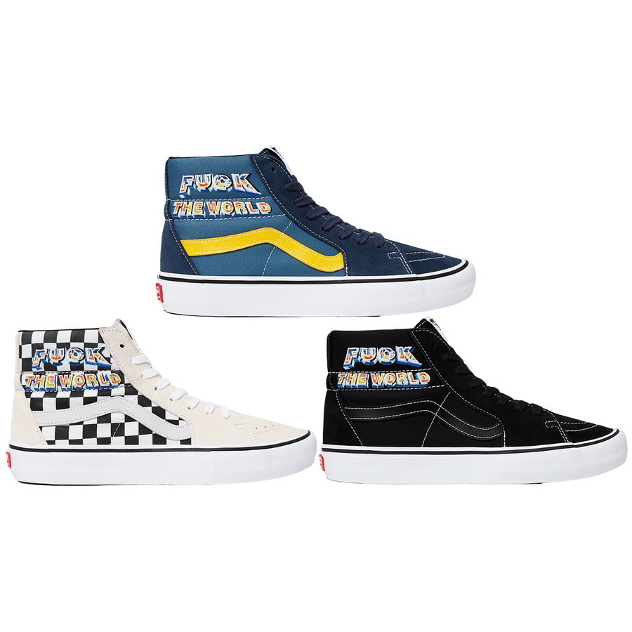 Supreme®/Vans® FTW Sk8-Hi - Premium suede and canvas upper with embroidered graphic on side. Leather lining and insole with vulcanized waffle outsole and custom heel label. Made exclusively for Supreme.
