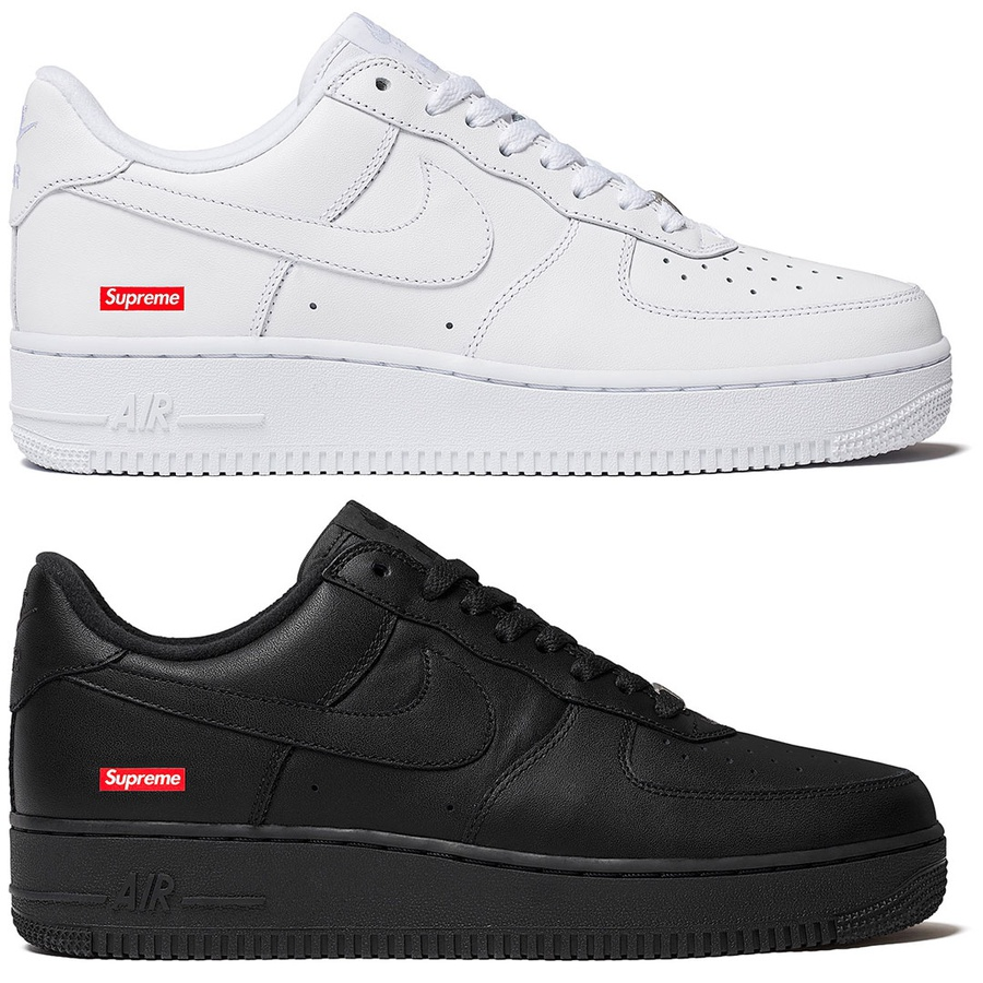 Supreme®/Nike® Air Force 1 Low - Full-grain leather upper with perforated leather toe panel and DURAPLUSH lining. Co-branded footbed, lace lock and tongue label. Embroidered logos at eyestay and heel with debossed printed logo at side. Set of printed logo laces included. Made exclusi...