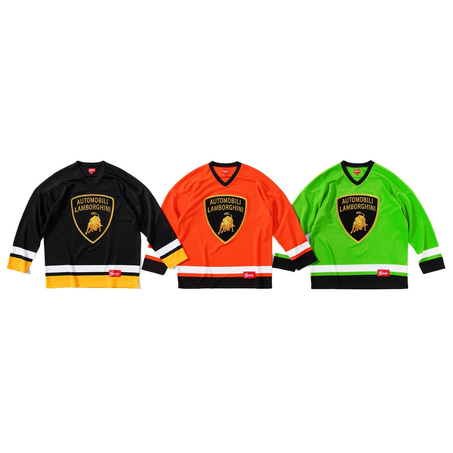 Supreme®/Automobili Lamborghini Hockey Jersey - Poly with embroidered logo patch on chest. Tackle twill appliqué logo on back and athletic label at lower front.