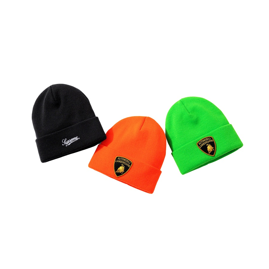Supreme®/Automobili Lamborghini Beanie - Acrylic cuffed beanie with embroidered patch and embroidered logo on cuff.