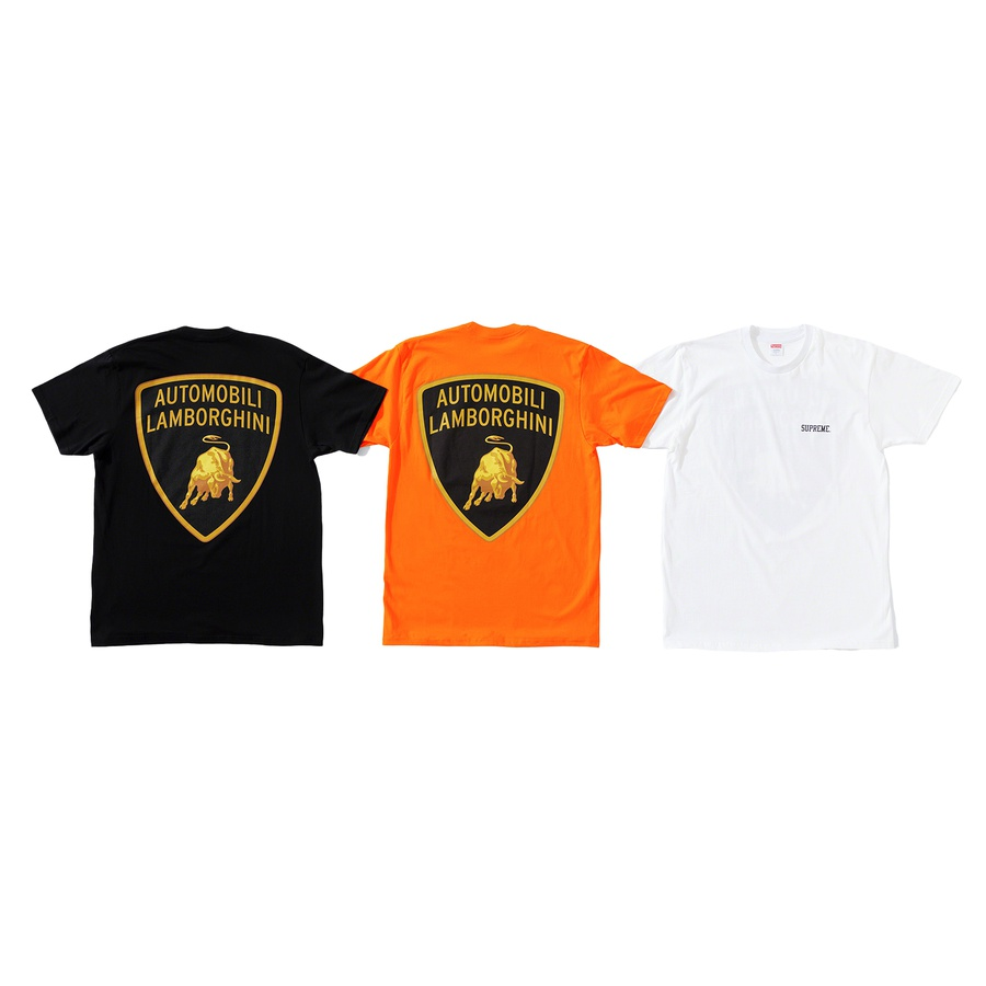 Supreme®/Automobili Lamborghini Tee - All cotton classic Supreme t-shirt with printed logo on chest and printed graphic on back.