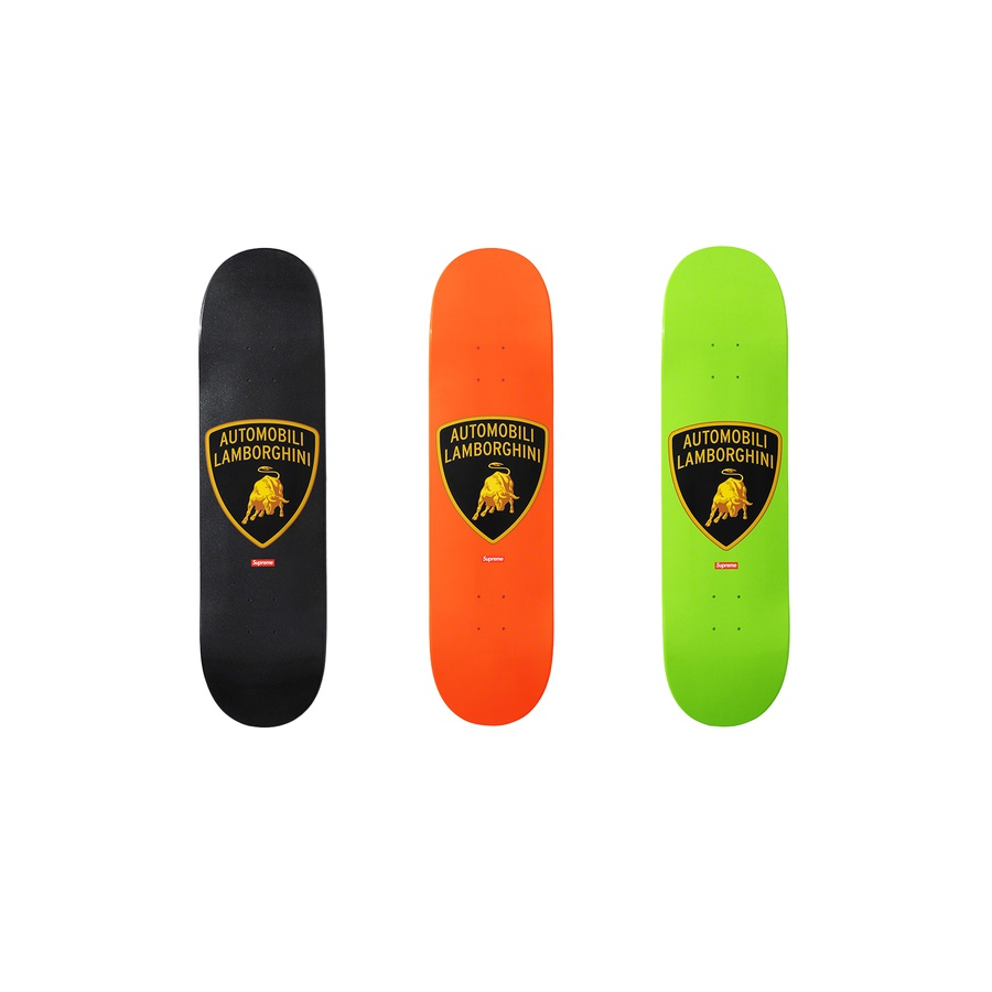 Supreme®/Automobili Lamborghini Skateboard - Full dipped Supreme skate deck with printed graphic on bottom. Printed World Famous and box logo on top.
