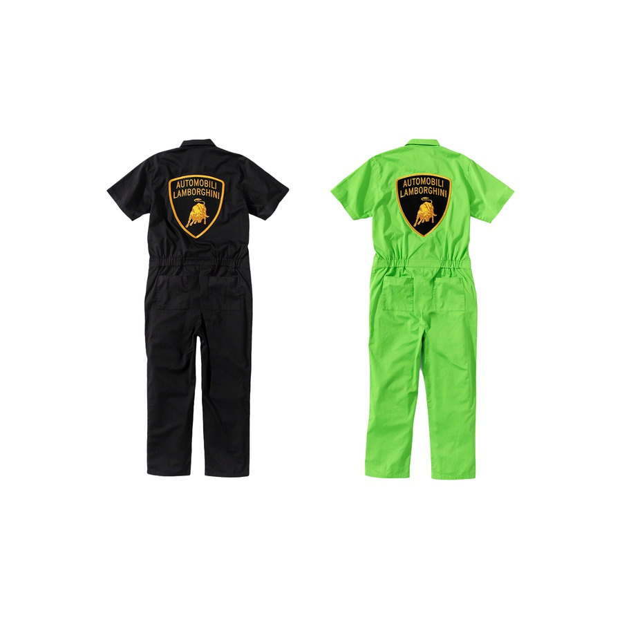 Supreme®/Automobili Lamborghini Coverall - Cotton blend twill with enzyme wash. Two-way zip closure with snap placket. Slanted front pockets with single coin pocket and snap patch pockets on chest and seat. Embroidered logo patches on chest and back.