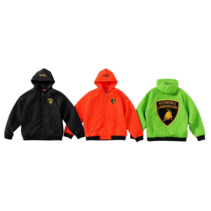 Supreme®/Automobili Lamborghini Hooded Work Jacket - Water resistant high density quilted poly with light fill and lining. Full zip closure with snap flap hand pockets at lower front. Interior drawcord at hood with knit rib cuffs and hem. Embroidered patches on chest and back with embroidered logo on hood.