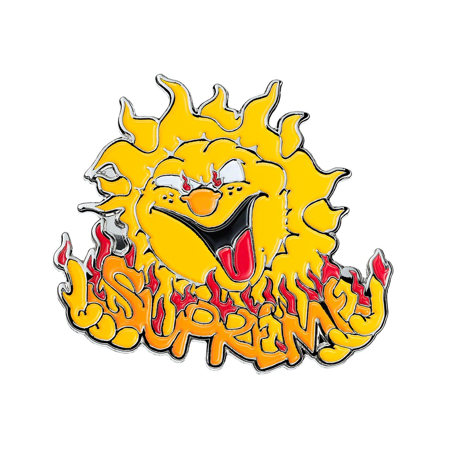 "Sun Pin - 1.25"" enamel pin with stamped logo at back."
