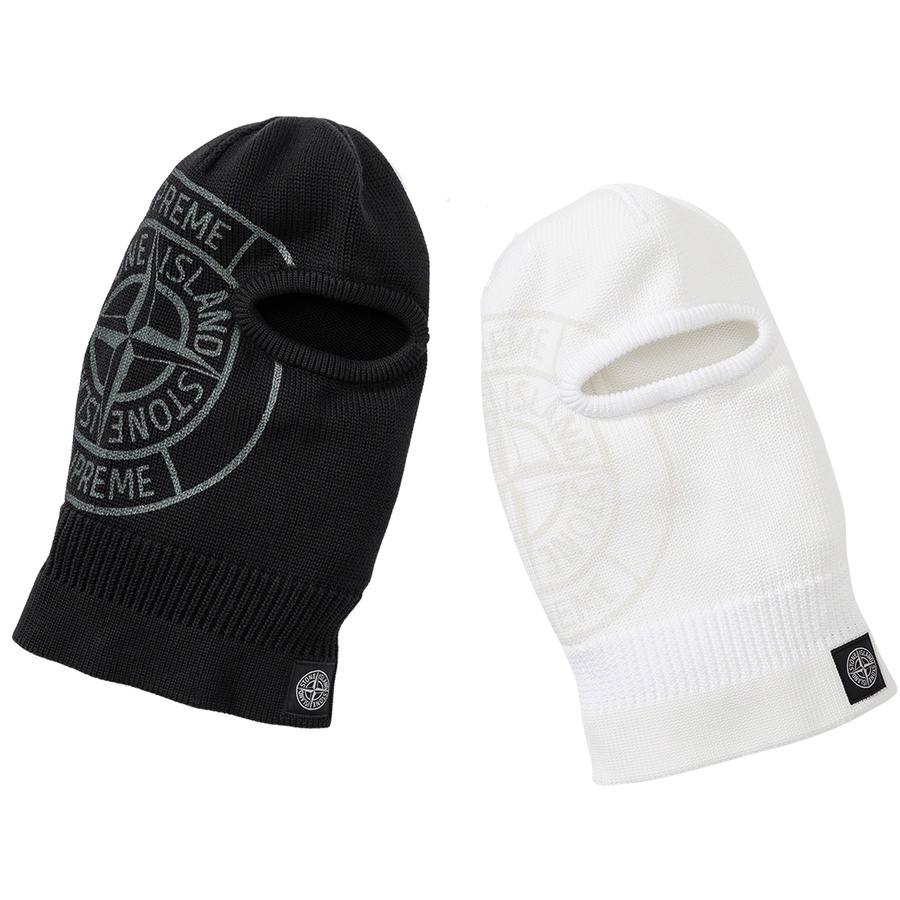 Supreme®/Stone Island® Glow Knit Balaclava - Double-face poly knit balaclava with cotton lining. Glow-in-the-dark transfer printed logos at side with woven logo label at opening. Made exclusively for Supreme.