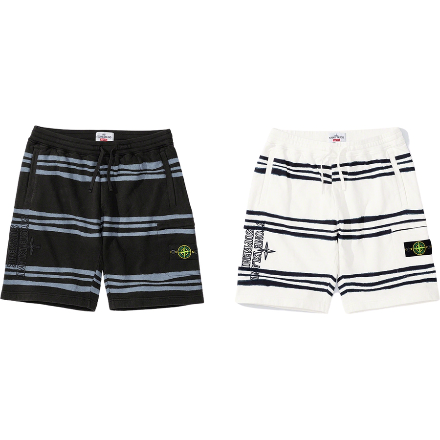 Supreme®/Stone Island® Warp Stripe Sweatshort - Cotton fleece pigment printed with Stone Island® archive irregular striped motif and washed to blur. Welt hand pockets, zip back pocket and zip pocket at thigh. Knit rib waistband with interior drawcord. Removable Stone Island® badge at pocket and emb...
