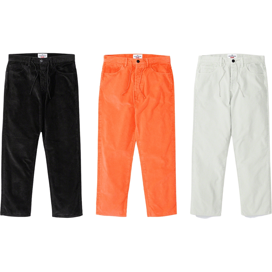 Supreme®/Stone Island® Corduroy Pant - Cotton corduroy 500 treated with resins and garment dyed with Stone Island® recipes to achieve a frosted appearance. Classic 5-pocket style with button fly, interior drawcord and single coin pocket. Embroidered logos on back pocket. Made exclusively f...